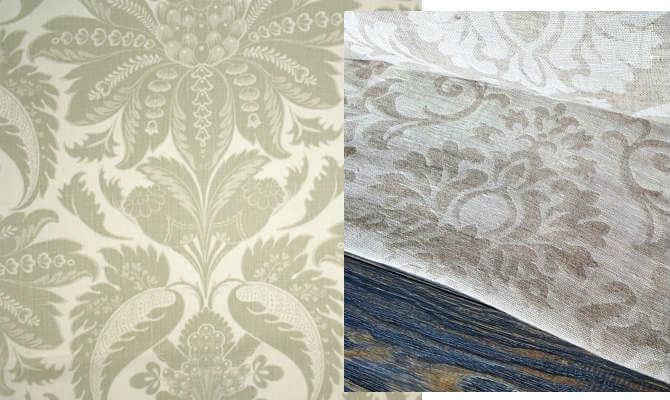 La tela de lino damasco