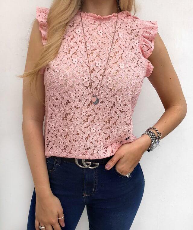 blusa de encaje